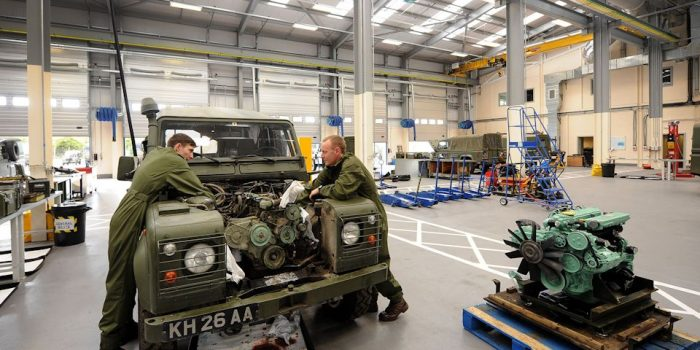 STAFFORD EXPRESS&STAR RICHARD HARRIS 220915 Craftsmen Nathan Rowe and James Lawler service a Landrover in the Light Aid Detachment garage. The unveiled £150m redevelopment of Beaconside Barracks at  MoD Stafford.